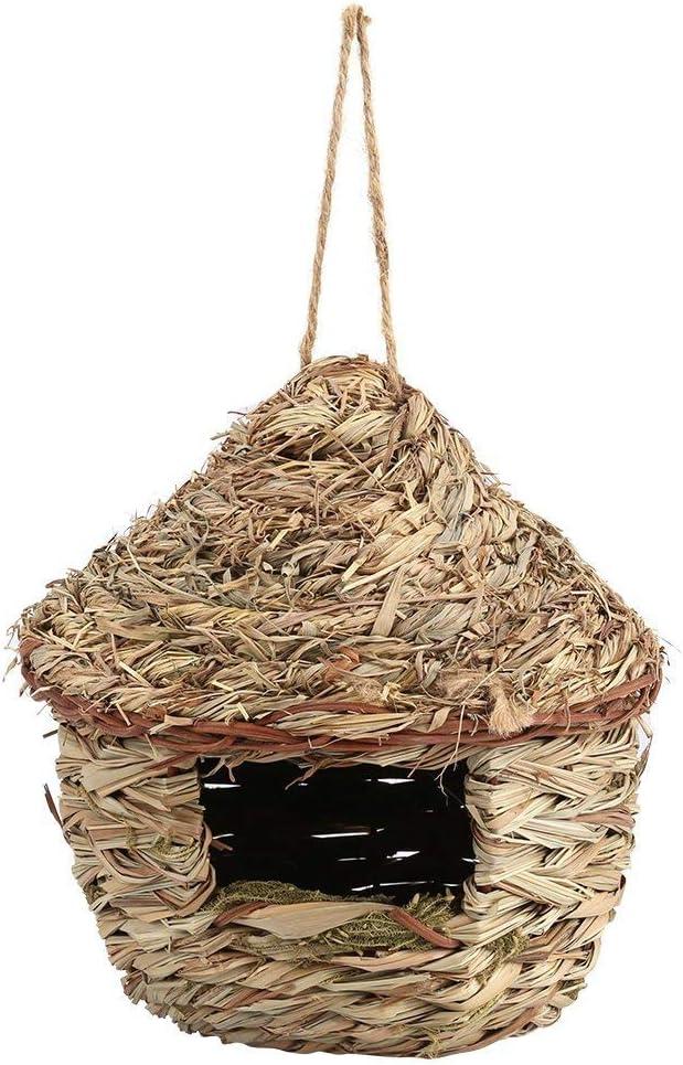 Jaula de nido de paja tejida a mano para pájaros o pájaros en 3 tamaños para loro, canario o cacatúas u otros pájaros