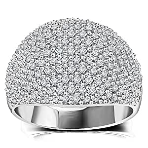 White Diamond Accent Dome Ring - Cluster Cubic Zirconia Paved Statement Wide Bands Size 6-10 (White, 5)