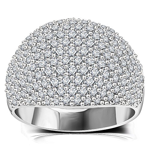 Big Silver Color Dome Statement Ring - Full Pave Cubic Zirconia Wide Women Engagement Wedding Band Ring (White, 11)