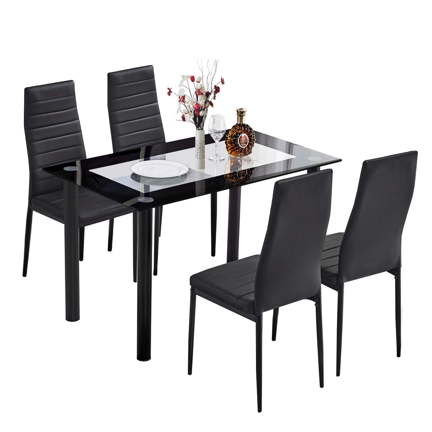 Trustiwood 5 Piece Kitchen Dining Table Set Modern Glass Dinette Set Dining Set w/ 4 PU Faux Leather Chairs Dining Room Sets Home Furniture, Black