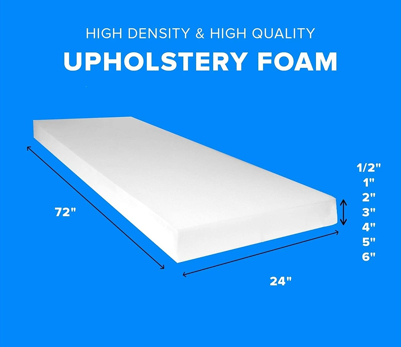 "GoTo Foam 1/"" Height x 30/"" Width x 72/"" Length 44ILD Firm Upholstery Cushion"