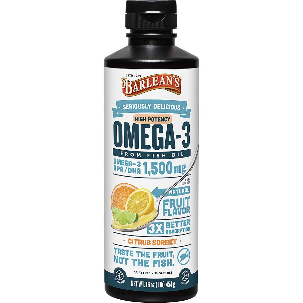 Barlean's Seriously Delicious Omega-3 High Potency Fish Oil, Citrus Sorbet, 16-oz