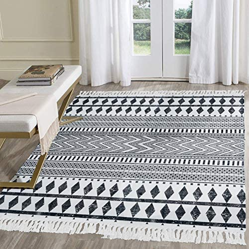 Hebe Cotton Area Rug 4 X 6 Large Hand Woven Black And White Cotton Rugs With Tassels Printed Geometric Bohe Rug For Living Room Bedroom Laundry Room Entryway Kitchen Dining Amazon Com