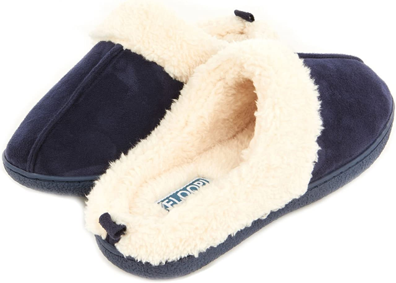 Floopi Slippers for Women Memory Foam Fur Lined Clog House Slipper W/Indoor-Outdoor Anti Skid Rubber Sole