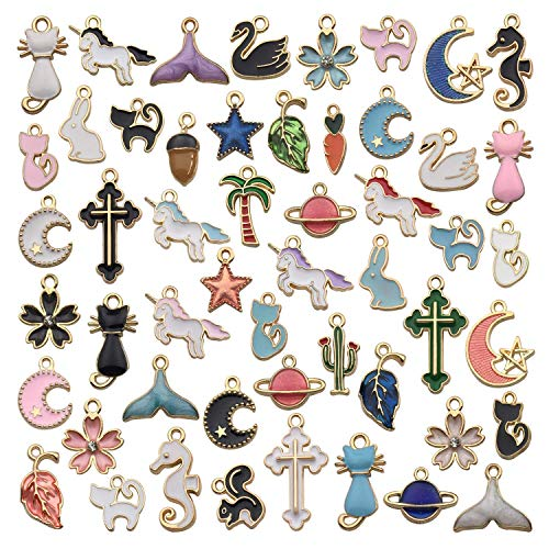 - JIALEEY 50PCS Assorted Gold Plated Enamel Animal Moon Star Fruit Unicorn Charm Pendant DIY for Necklace Bracelet Earring Jewelry Making and Crafting