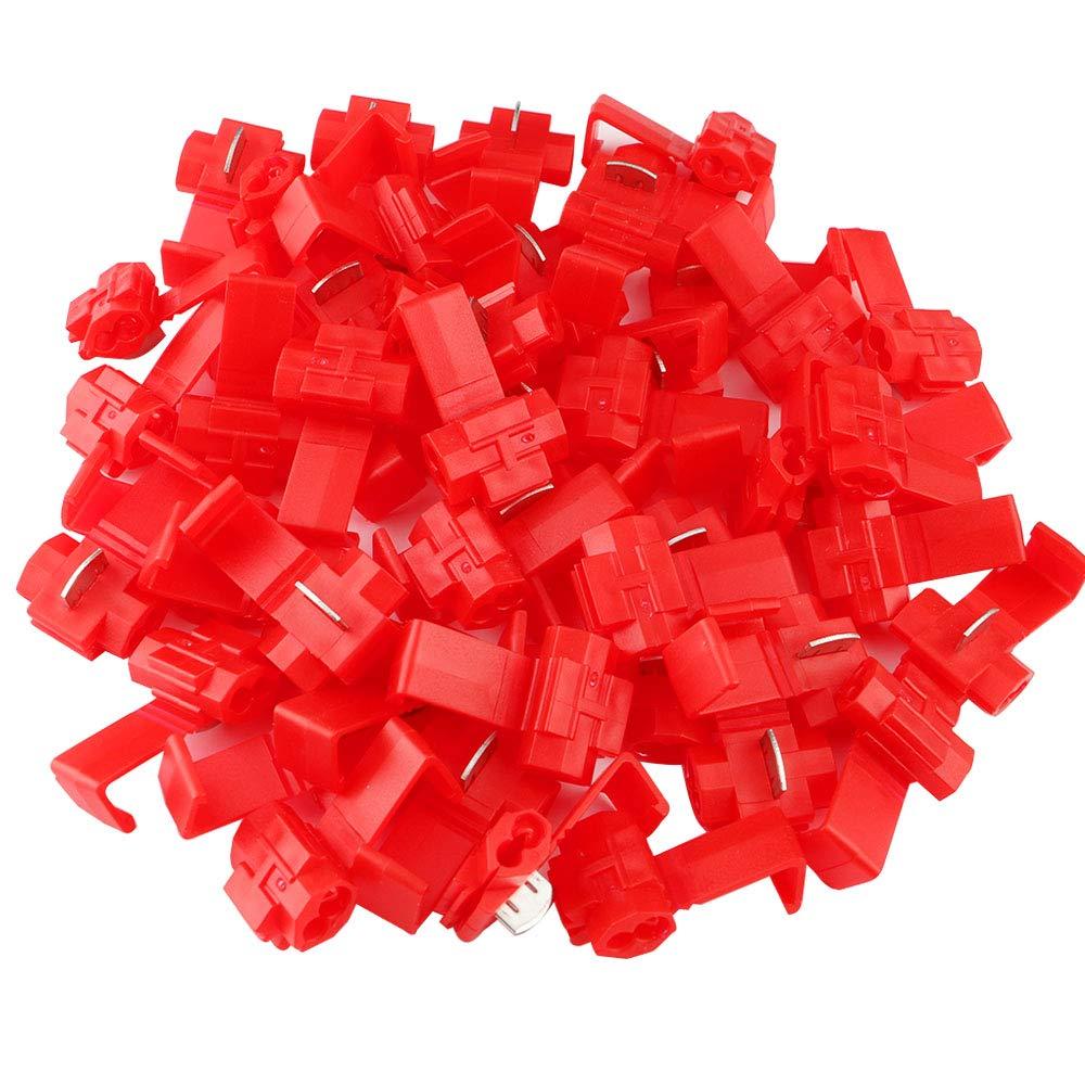 FULARR 50Pcs Scotch Lock Conector Kit, Conectores Empalme Eléctricos, Conector Rama Conector Lock, Rápido Terminales de Empalme Crimp Electrical, para Cable 0.5-1.0mm² / 22-18 AWG –– Rojo Conectores Empalme Eléctricos