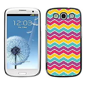 FECELL CITY // Duro Aluminio Pegatina PC Caso decorativo Funda Carcasa de Protección para Samsung Galaxy S3 I9300 // Pattern Purple Teal Red Pink