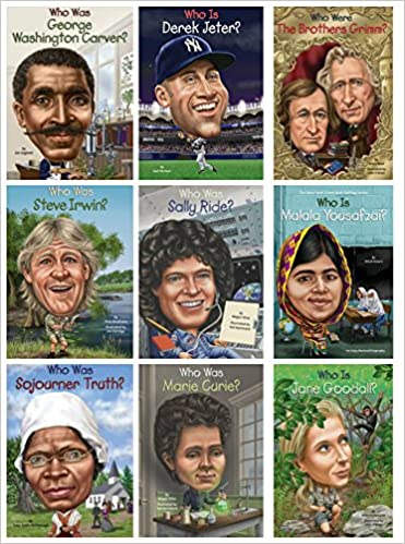 6c0f64f8 9-Pack (Marie Curie, Sally Rider, Derek Jeter, Steve Irwin, Jan Goodall,  George Washington Carver, Malala Yousafzai, Sojourner Truth, Brothers  Grimm) ...