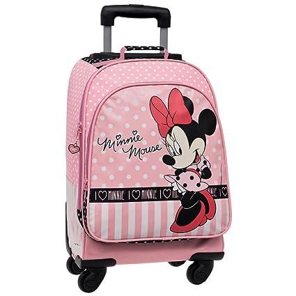 Disney Minnie Mouse Mochila Escolar con Carro, 4 Ruedas, Rosa