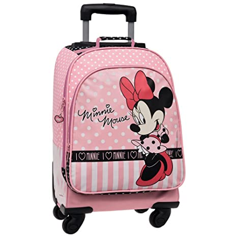 Disney Minnie Mouse Mochila Escolar con Carro, 4 Ruedas, Rosa