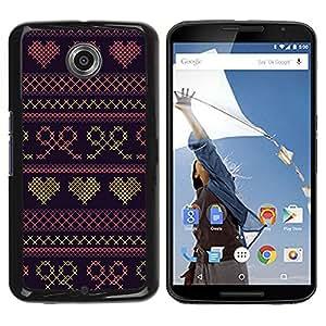 Be Good Phone Accessory // Dura Cáscara cubierta Protectora Caso Carcasa Funda de Protección para Motorola NEXUS 6 / X / Moto X Pro // Heart Quilted Bowtie Purple Sweater