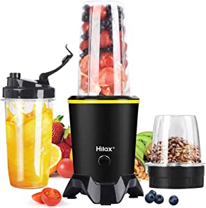 Blender, Portable Personal Smoothie Blender, 1000W High Speed Blender Maker Coffee Grinder with 2-Set Blades for Fruits Baby Food Vegetables Beans, Two Tritan BPA-Free Blender Bottle(35+14oz), Black