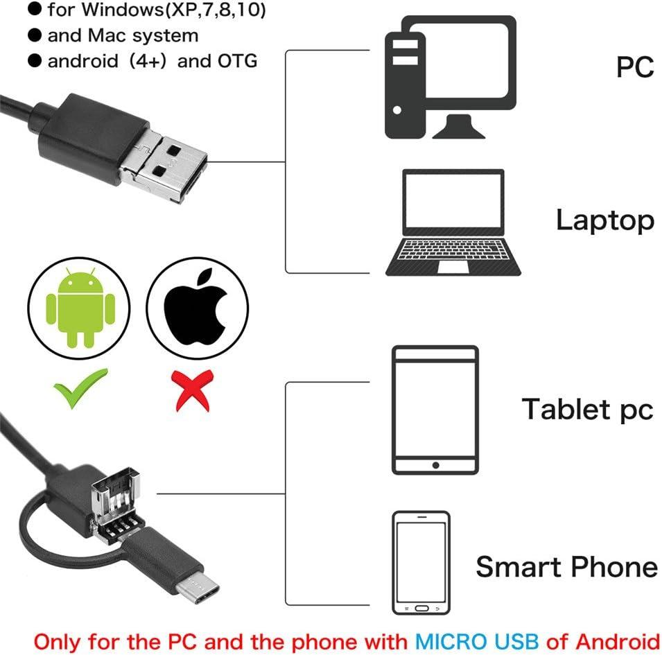 Windows PC Ear Endscope USB Otoscope 3 in 1 Digital Ear Scope Ear Inspection with 6 Led Lights Adjustable Lightness Waterproof for Micro USB /&Type C,Android Phone