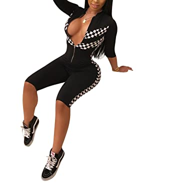 ee9fda9ccc96 Amazon.com  Womens Plunge V Neck Zipper Front Bodycon Checkered Race Short  Capri Jumpsuits Rompers  Clothing