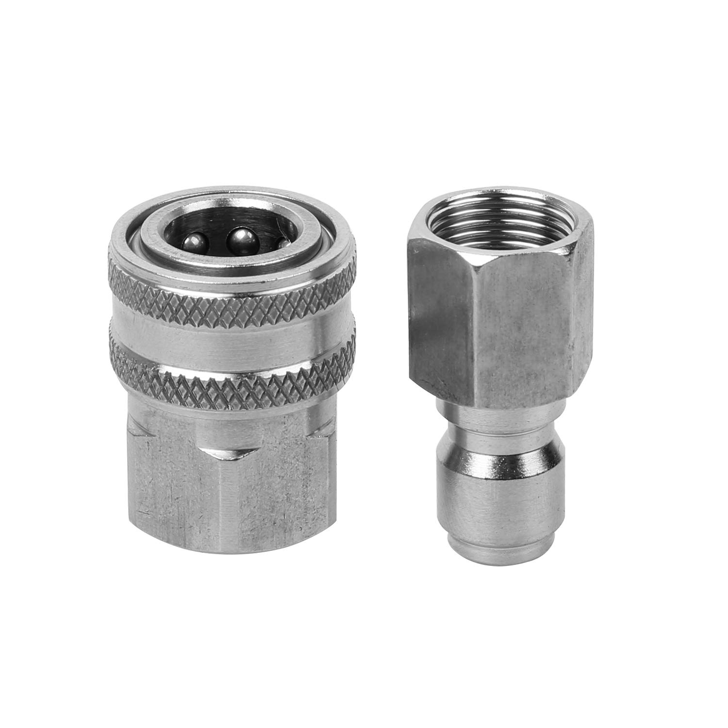 Sooprinse Stainless Steel Quick Connect Pressure Washer Adapter Set 3/8-Inch Female Quick Connect Plug and Socket for Attach a Hose to The Water Pumps, Hose Reels, Max Pressure 5000 PSI Rating