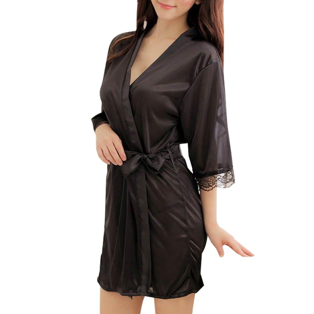 Sidiou Group Vestaglia Kimono Donna Elegante Pigiama Vestaglia Raso Corta Camicie da Notte per Donna Accappatoio Biancheria da Notte Abito da Notte Indumenti da Notte