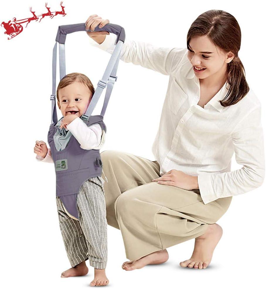 Arnés de Seguridad para Caminar Ajustable Arnés de Bebe a Pie de Caminado Aprendizaje Chaleco Arneses para Niños Andador Arnés Tirantes Con Correa y Hebilla de Bebé Protección 8-24 meses (Gris)