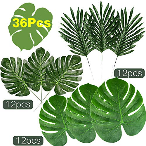 KUUQA 36 Pcs 3 Kinds Artificial Tropical Leaves with Stems, Green Palm Leaves for Luau Hawaiian Tropical Party Decorations, Faux Monstera Leaves for Jungle Safari Party Palm Decorations Supplies -