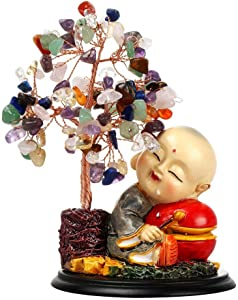 Feng Shui Money Tree Crystal Quartz Lucky Tree Gem Tree with Cute Sleeping Monk for Office Home Feng Shui Decoration for Wealth/Fortune and Luck (Seven revising)