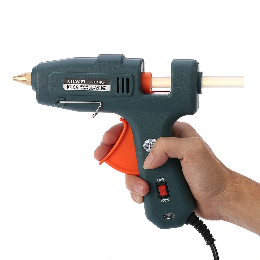Glue Gun Heating Repair Tool 60w/100w With 20pcs Sticks Electrical Hot Melt Ensures High Power And Quick Heating. The Ergonomic Trigger Is Labor-saving, Comfortable For Long Time Use.