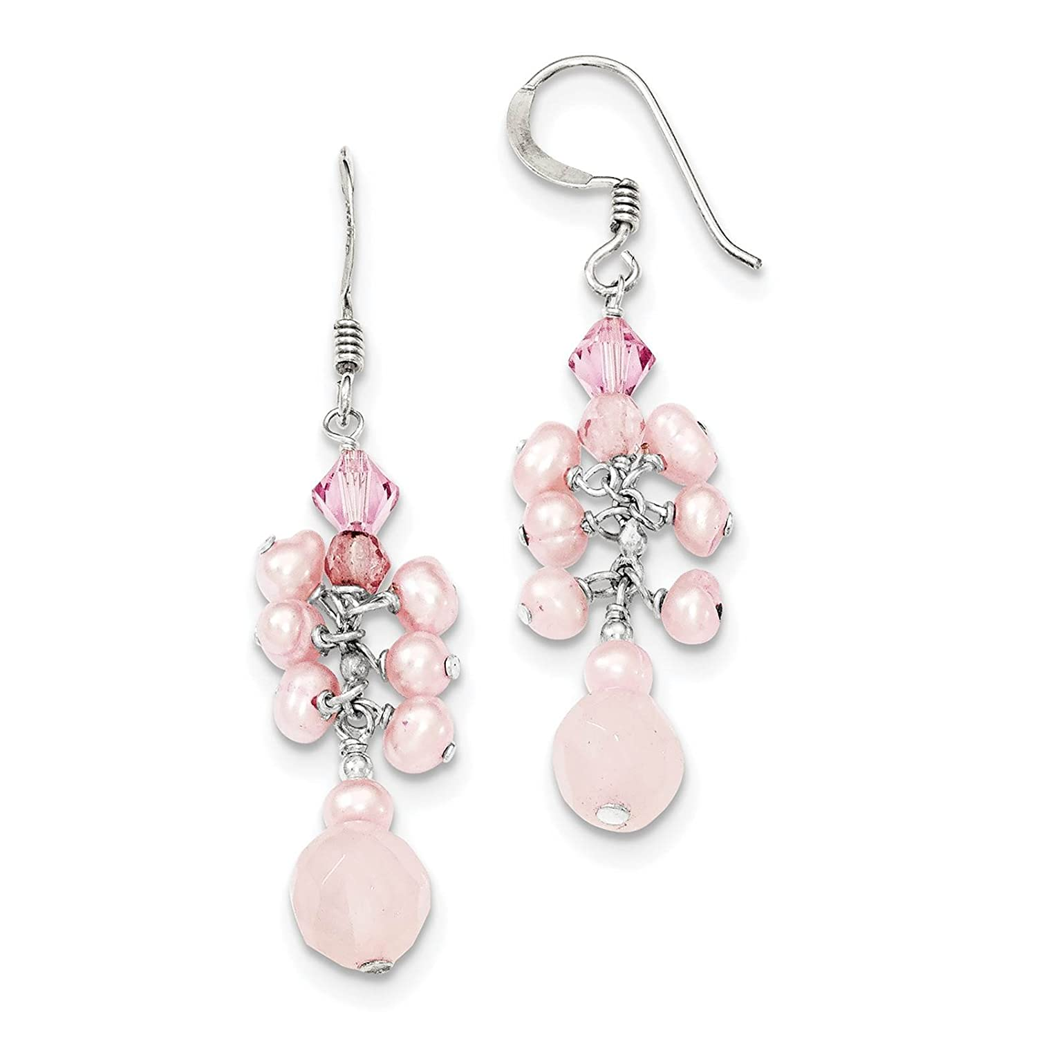 Pink Crystal /& Pink Freshwater Cultured Pearl Dangle Earrings 925 Sterling Silver Quartz