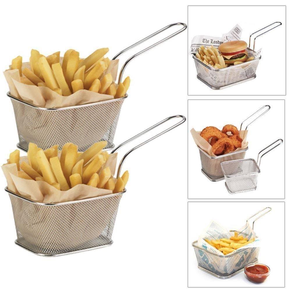 6 x French Fry Holder Basket Deep Frying Chips Frier Baskets Mesh Single Serving RoukenGlen