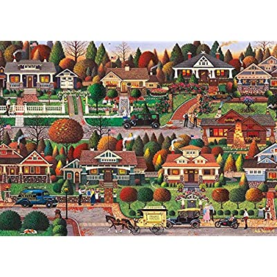 Charles Wysocki - Labor Day in Bungalowville - 1000 Large Piece Jigsaw PuzzleFinished Size: 29.5