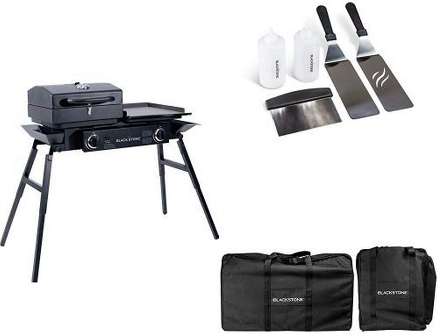 Blackstone Tailgater Portable Gas Grill and Griddle Combo & Cover + Griddle Tool Kit Bundle