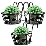 Tosnail Iron Art Hanging Baskets Flower Pot Holder - Great for Patio Balcony Porch or Fence - Pack of 3 (Black)