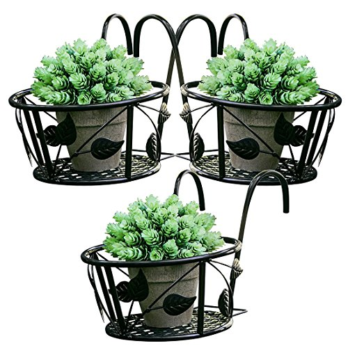 Tosnail Iron Art Hanging Baskets Flower Pot Holder - Great Patio Balcony Porch Fence - Pack of 3 (Black)