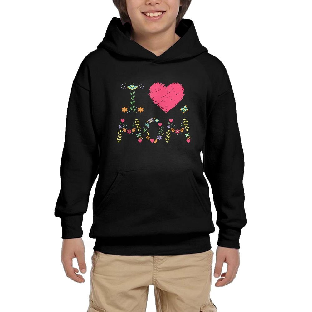 Youth Black Hoodie I Love Mom Flower Hoody Pullover Sweatshirt Pocket Pullover For Girls Boys XL by Hapli