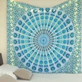 Blue Tapestry Hippie Peacock Mandala Tapestry By ''Jaipur Handloom'' - A Perfect Hippie, Bohemian, Indian, Boho, Dorm, Hippy, Psychedelic Tapestry Wall Hanging (Blue Turquoise)