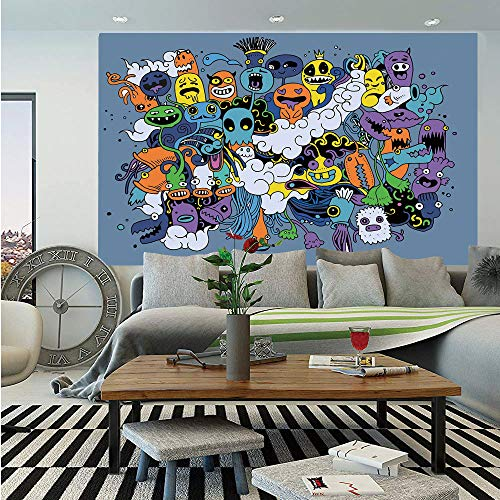 Indie Removable Wall Mural,Group of Funky Monsters Society Different Expressions Abstract Groovy Doodle Style Decorative,Self-Adhesive Large Wallpaper for Home Decor 66x96 inches,Multicolor ()