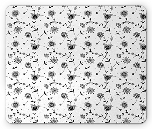 Tiny Vine (Black and White Mouse Pad by Lunarable, Flowers on Vines Pattern Small Cute Petals Leaves with Tiny Butterflies, Standard Size Rectangle Non-Slip Rubber Mousepad, Black White)