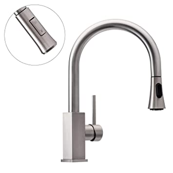 Wasserrhythm Stainless Steel Kitchen Sink Faucet With Pull Down Out