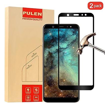 2-Unidades] Samsung Galaxy A6 Plus 2018 Protector de Pantalla, PULEN Vidrio Templado 2.5D 0.33mm 9H Dureza [Fácil de instalar] [Alta Definicion] Protector de Pantalla para Samsung Galaxy A6 Plus 2018 (Negro): Amazon.es: