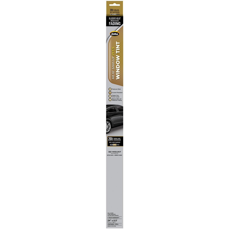 24in x 78in Gila Heat Shield Plus 20/% VLT Automotive Window Tint DIY Extra Heat Control Glare Control 2ft x 6.5ft