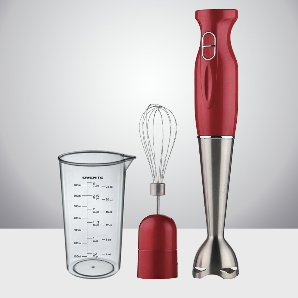 Ovente Multi-Purpose Immersion Hand Blender Set – 300-Watts, 2-Speed – Stainless Steel Blades and Detachable Shaft – Includes Egg Whisk and BPA-Free Beaker (24 oz) – Red (HS583R) by Ovente (Image #3)