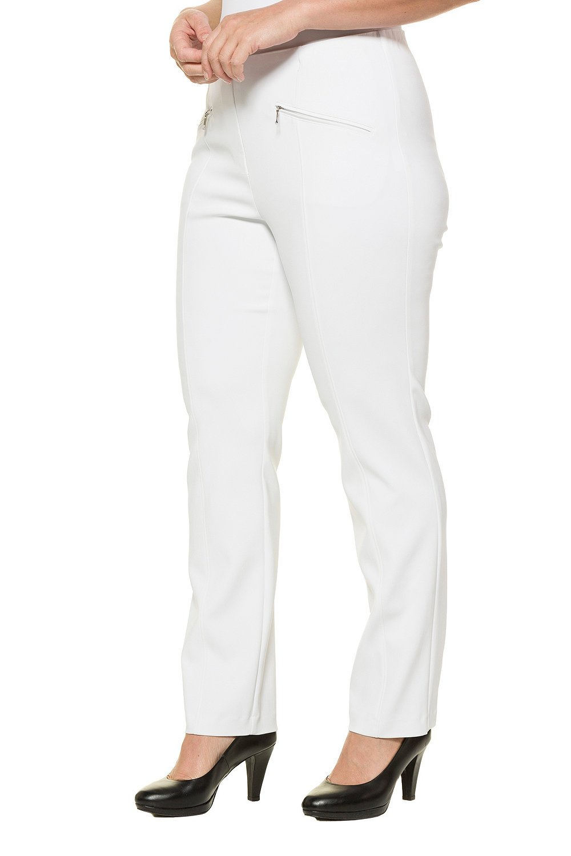 Ulla Popken Women's Plus Size Zip Pocket Stretch Pants White 16 714577 20