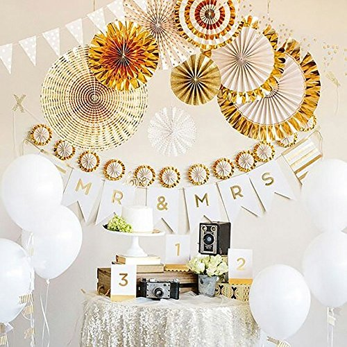 LG-Free 8pcs Mixed Colors & Sizes Gold Paper Fan Round Folding Fans Wall Hanging Paper Fan Fiesta Wedding Birthday Kids Party Supplies for Christmas Tree Home Decorations, Party, Wedding