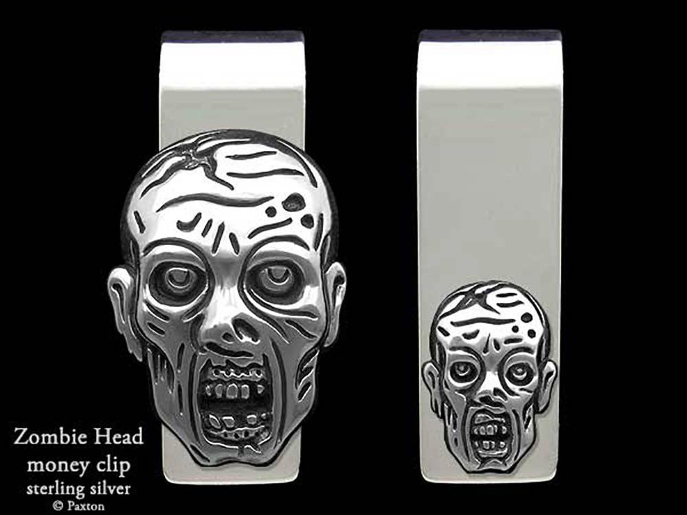 Zombie Head Money Clip in Solid Sterling Silver Hand Carved, Cast & Fabricated by Paxton