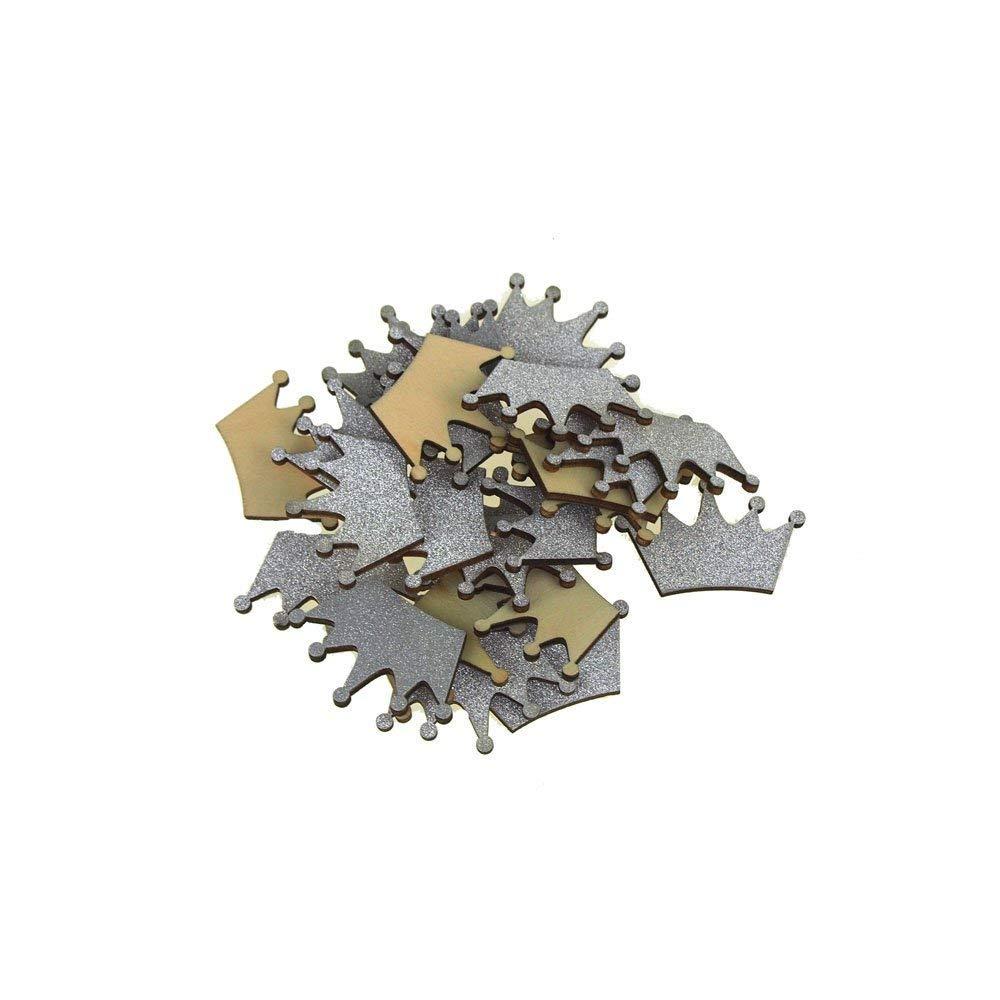 Homeford FCF00000WPG1SLVE_25X Glitter Wood Favors 1-1/2' Silver