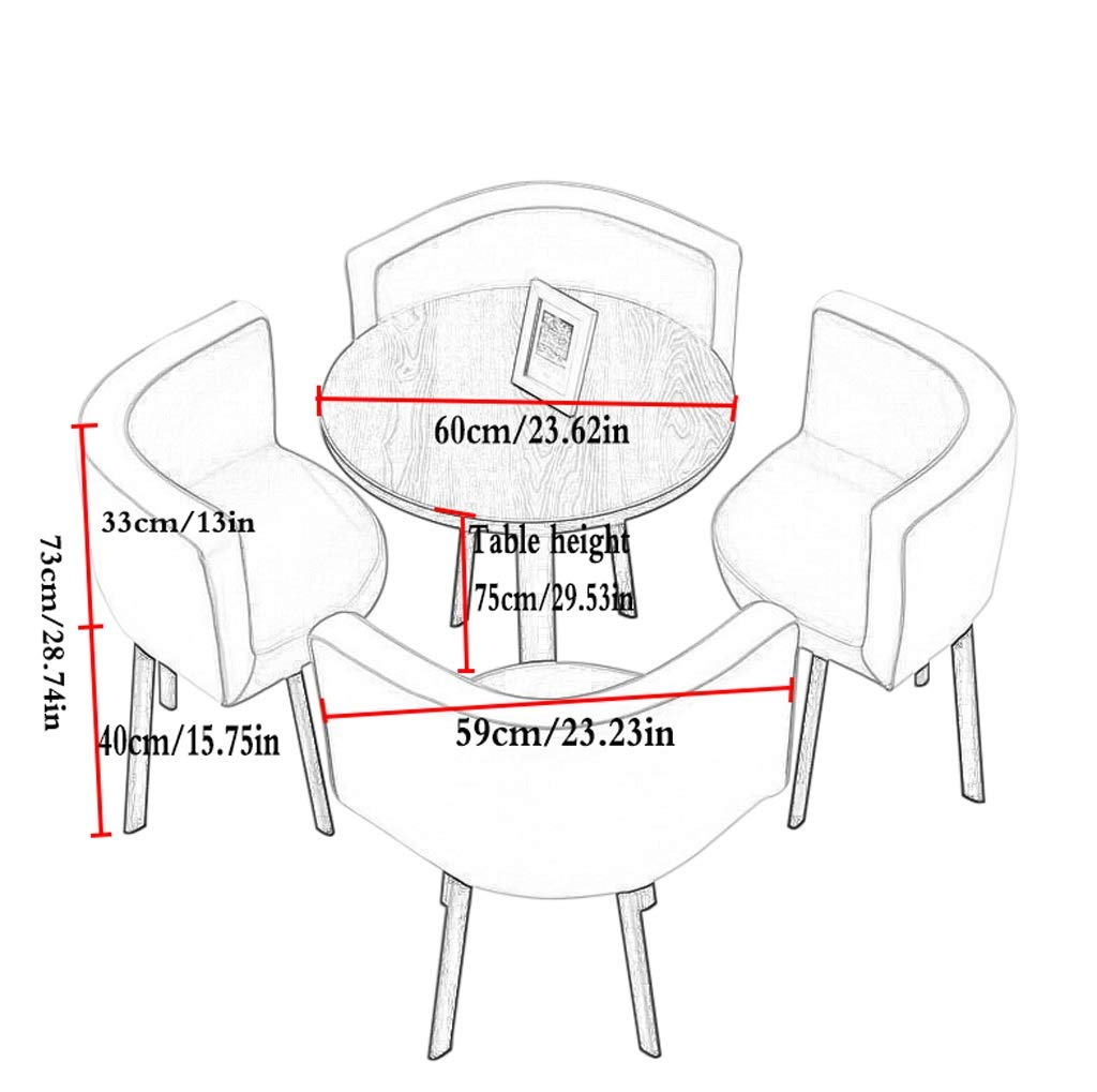 Förhandlingsbord och stolkombination recept och stol nordiskt matbord ett bord och fyra stolar konferensbord runt kaffebord 60 cm i diameter bomullstyg (färg: grå) gRÖN