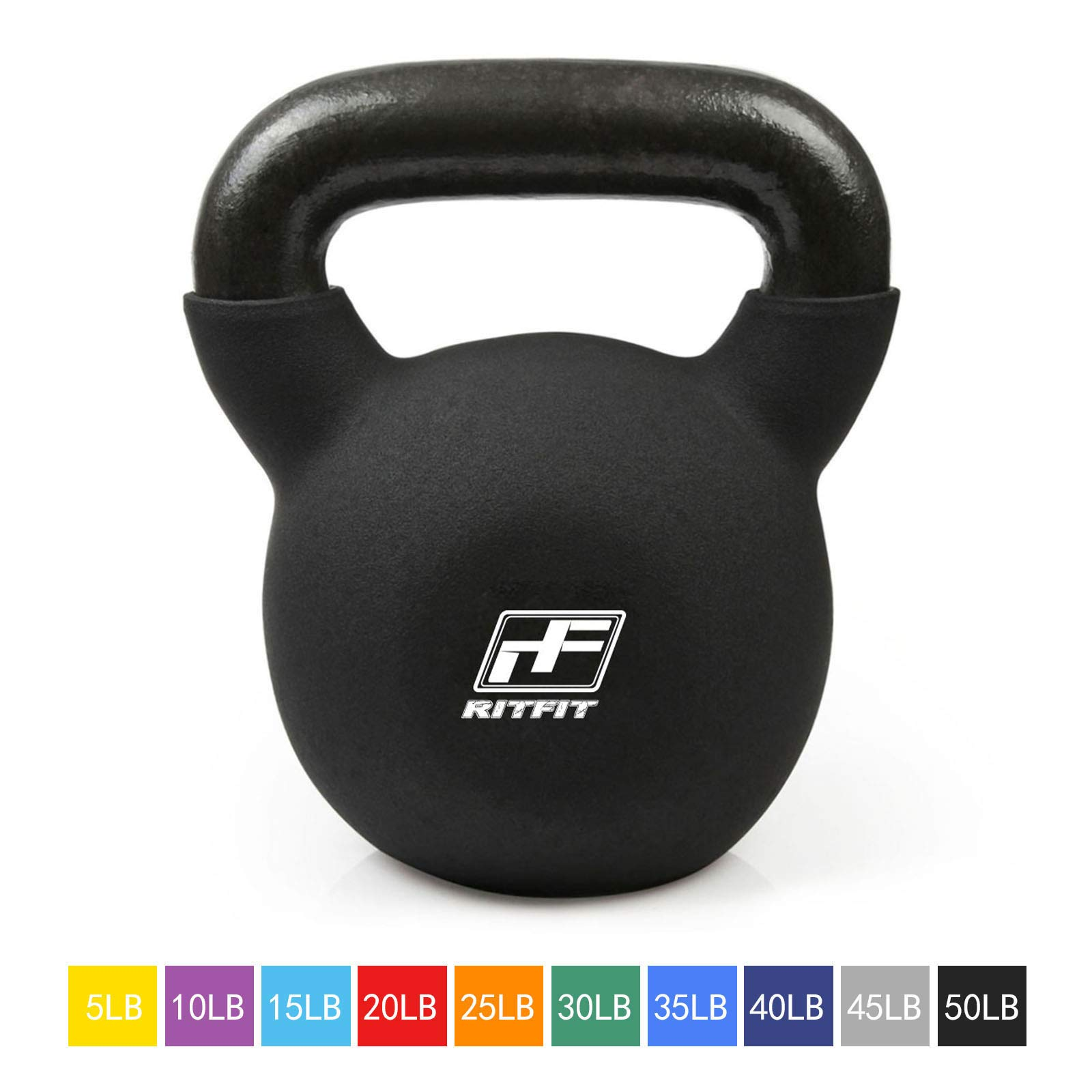 RitFit Neoprene Coated Solid Cast Iron Kettlebell - Great for Full Body Workout, Cross-Training, Weight Loss & Strength Training (5/10/15/20/25/30/35/40/45/50 LB) (50LB(Black))