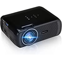 Mini Portable Projector with 1500 Lumens LCD LED 800x480 Excelvan BL80 Home Theater HDMI USB VGA AV ATV SD-Card (Black)