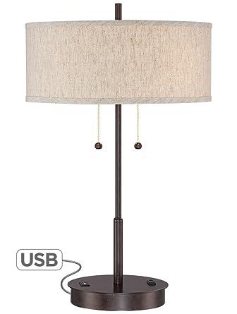 Nikola Bronze Metal Table Lamp With Usb Port Amazon Com