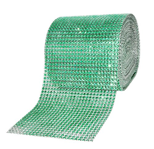 Mandala Crafts Faux Diamond Bling Wrap, Faux Rhinestone Crystal Mesh Ribbon Roll for Wedding, Party, Centerpiece, Cake, Vase Sparkling Decoration (4.75 Inches 24 Rows 10 Yards, Green)
