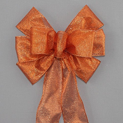 (Orange Metallic Fall Halloween Bow - available in 2 sizes)
