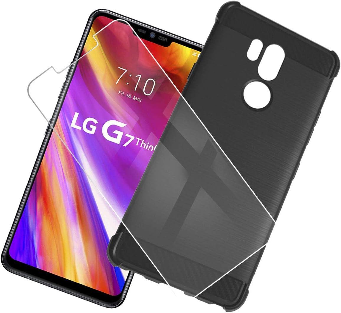 QFSM Funda + Cristal Templado para LG G7 Thinq/LG G7 Silicona ...