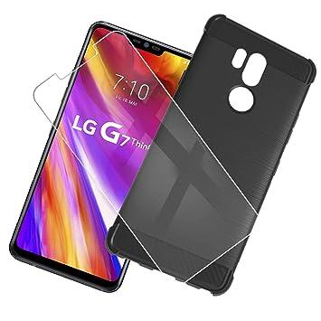 QFSM Funda + Cristal Templado para LG G7 Thinq/LG G7 Silicona Carcasa TPU Airbag Anti-Knock Fibra de Carbono Cover Case, HD Película Protectora ...